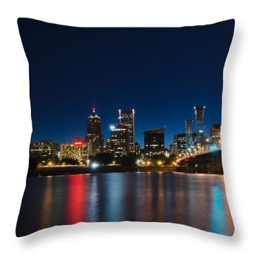 Portland Oregon Nightscape Throw Pillow by Don Schwartz