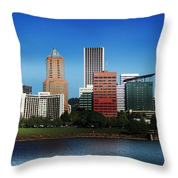 Throw Pillow featuring the photograph Portland Oregon Skyline  by Aaron Berg