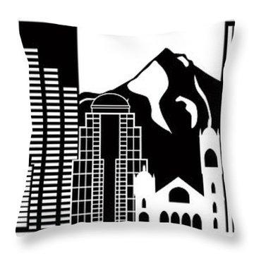 Portland Oregon Skyline Black And White Illustration Throw Pillow by Jit Lim