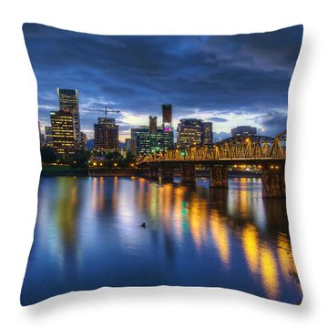 Portland Oregon Waterfront At Blue Hour Throw Pillow by David Gn
