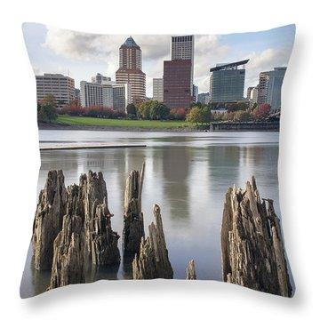 Portland Oregon Waterfront Throw Pillow by Jit Lim