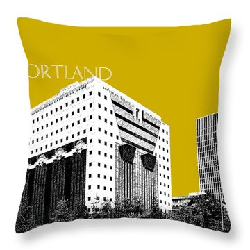 Portland Skyline Ficha Building - Gold Throw Pillow
