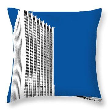 Portland Skyline Wells Fargo Building - Royal Blue Throw Pillow by DB Artist