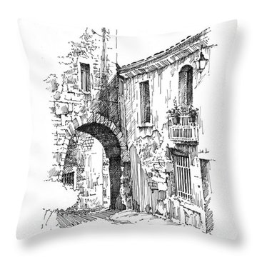Throw Pillow featuring the drawing Portmerion by Paul Davenport