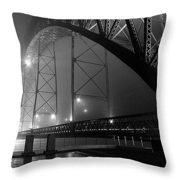Porto @ Night Fog Throw Pillow