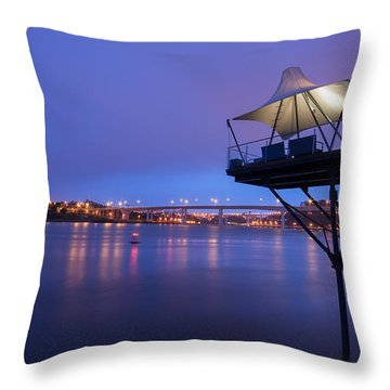 Porto @ Night With A Touch Of Long Exposure Throw Pillow