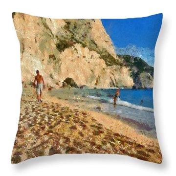 Porto Katsiki Beach In Lefkada Island Throw Pillow by George Atsametakis