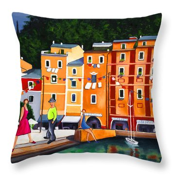 Portofino Art Print Throw Pillow by William Cain