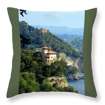 Portofino Coastline Throw Pillow by Carla Parris