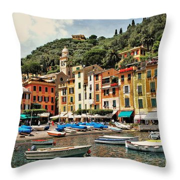 Throw Pillow featuring the photograph Portofino Harbor 2 by Allen Beatty