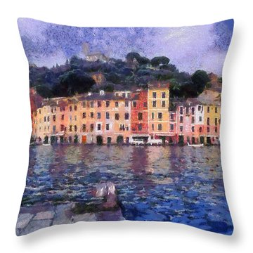 Portofino In Italy Throw Pillow by George Atsametakis