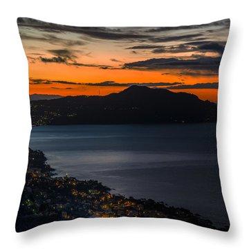 Portofino Mount And Paradise Gulf Sunrise - Alba Su Portofino E Golfo Paradiso Throw Pillow