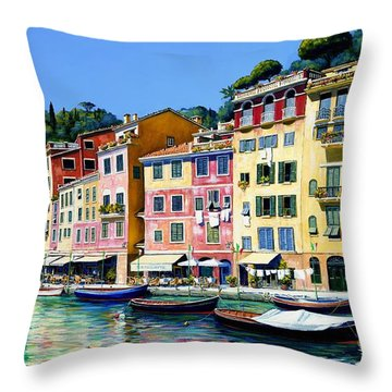 Throw Pillow featuring the painting Portofino Sunshine Sold by Michael Swanson
