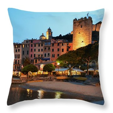 Portovenere At Night Throw Pillow