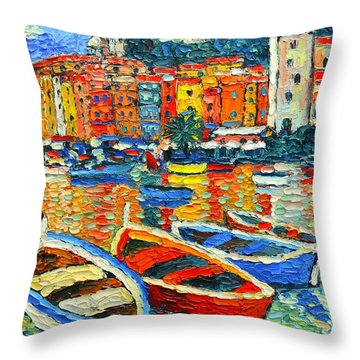 Portovenere Harbor - Italy - Ligurian Riviera - Colorful Boats And Reflections Throw Pillow