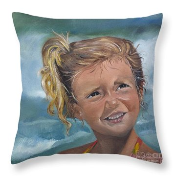 Portrait - Emma - Beach Throw Pillow