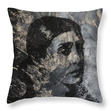 Throw Pillow featuring the mixed media Portrait Monoprint by Rachel Hames