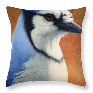 Portrait Of A Bluejay Throw Pillow by James W Johnson