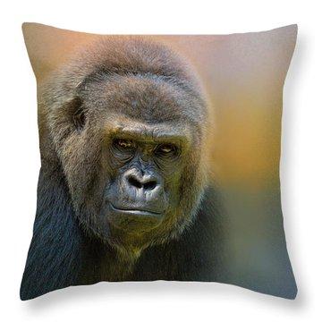 Portrait Of A Gorilla Throw Pillow