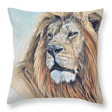 Throw Pillow featuring the digital art Portrait Of A King by Aaron Blaise