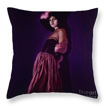 Portrait Of A Lady In Violet Throw Pillow