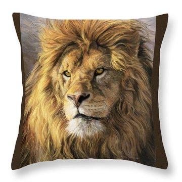 Portrait Of A Lion Throw Pillow by Lucie Bilodeau