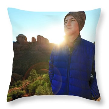 Portrait Of A Male Hiker In Sedona Throw Pillow