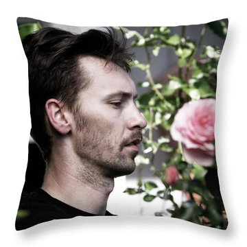 Portrait Of A Man And A Rose Throw Pillow