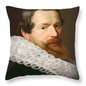 Portrait Of A Man Wearing A Ruff Throw Pillow by Dutch School