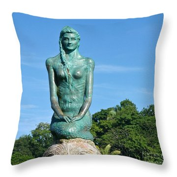 Portrait Of A Mermaid Throw Pillow by Michelle Wiarda