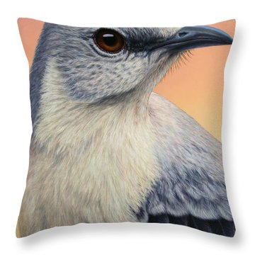 Portrait Of A Mockingbird Throw Pillow
