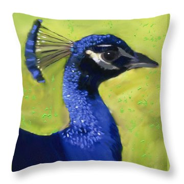 Portrait Of A Peacock Throw Pillow
