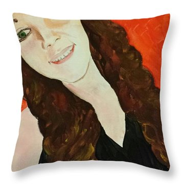Throw Pillow featuring the painting Ptg. Portrait Of A Teenager by Judy Via-Wolff