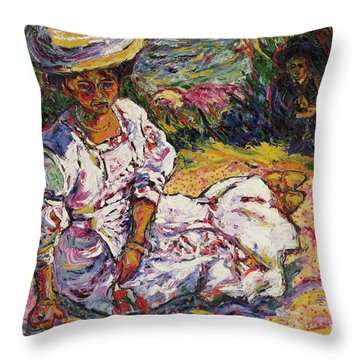 Portrait Of A Woman Throw Pillow by Ernst Ludwig Kirchner