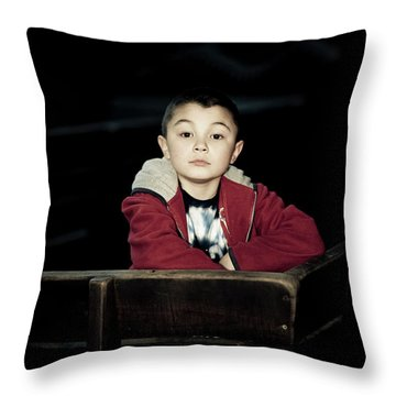 Portrait Of A Young Boy With Dark Throw Pillow