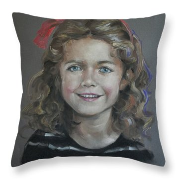 Portrait Of A Young Girl Throw Pillow by Mary Machare