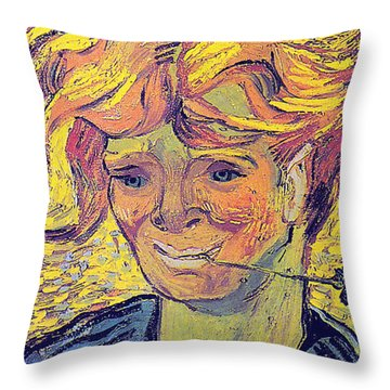 Portrait Of A Young Man With Cornflower Throw Pillow by Vincent Van Gogh
