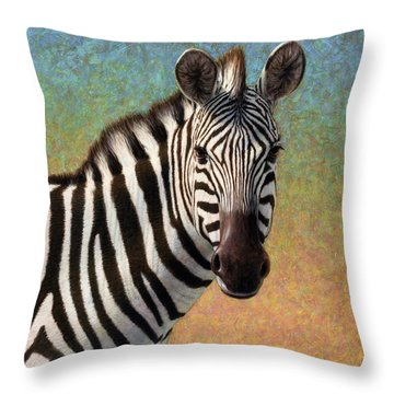 Portrait Of A Zebra - Square Throw Pillow