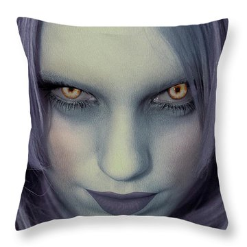 Throw Pillow featuring the painting Portrait Of A Zombie by Jon Volden
