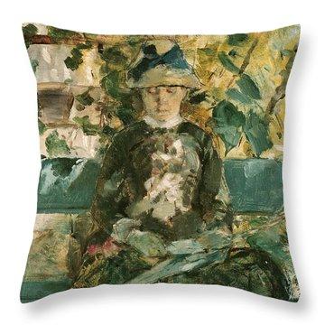 Portrait Of Adele Tapie De Celeyran Throw Pillow by Henri de Toulouse-Lautrec
