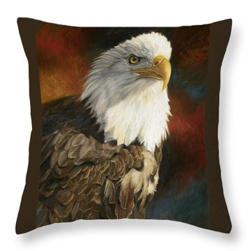 Portrait Of An Eagle Throw Pillow by Lucie Bilodeau
