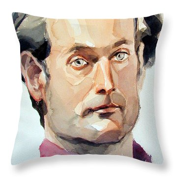 Watercolor Portrait Of A Man With Pale Blue Eyes Throw Pillow