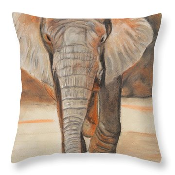 Portrait Of An Elephant Throw Pillow