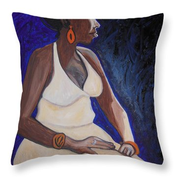 Portrait Of An Ethiopian Woman Throw Pillow by Esther Newman-Cohen