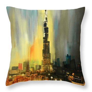 Portrait Of Burj Khalifa Throw Pillow by Corporate Art Task Force