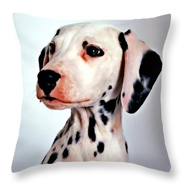 Portrait Of Dalmatian Dog Throw Pillow by Lanjee Chee