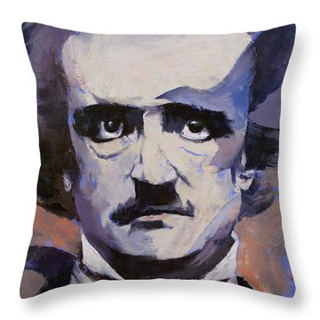 Edgar Allan Poe Throw Pillow by Michael Creese