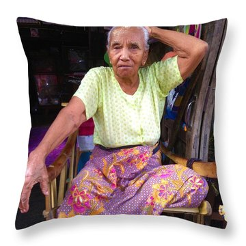 Throw Pillow featuring the photograph Portrait Of Elderly Burmese Lady Sitting In Front Of Home 33rd Street Chanayethazan Mandalay Burma by Ralph A  Ledergerber-Photography