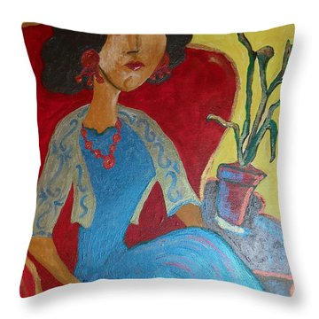 Portrait Of Elise Throw Pillow by Iris Gelbart