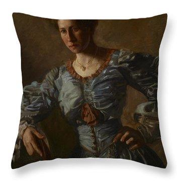 Portrait Of Elizabeth L Burton Throw Pillow by Thomas Cowperthwait Eakins